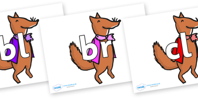 Initial Letter Blends on Small Fox 1 to Support Teaching on Fantastic Mr Fox - Initial Letters, initial letter, letter blend, letter blends, consonant, consonants, digraph, trigraph, literacy, alphabet, letters, foundation stage literacy