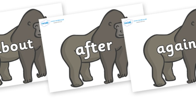 KS1 Keywords on Gorillas - KS1, CLL, Communication language and literacy, Display, Key words, high frequency words, foundation stage literacy, DfES Letters and Sounds, Letters and Sounds, spelling
