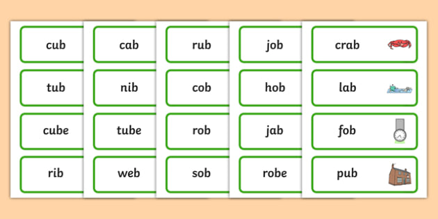Final B Sound Word Cards - final, b, sound, word cards, cards