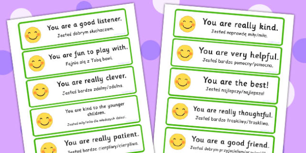 Polish Translation Giving Compliments Prompt Cards - polish