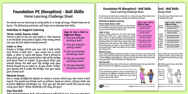 Foundation PE (Reception) - Ball Skills Home Learning Challenge Sheet - EYFS, PE, Physical Development, Planning