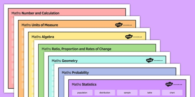KS4 Maths Word Mat Pack - KS3, KS4, GCSE, Maths, keywords, vocabulary, revision, algebra, number, calculation, geometry, probability, ratio, proportion, statistics, measure