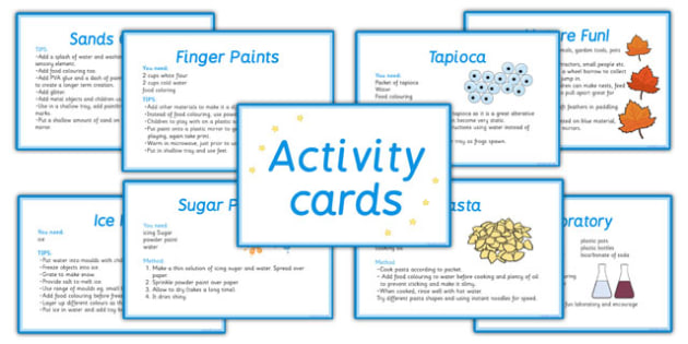 Sensory Activity Cards - sensory activities, sensory activity ideas, sensory activity idea cards, sensory lesson plan ideas, sensory fun, creative ideas