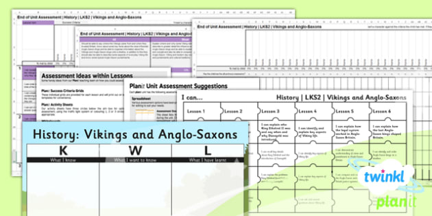 PlanIt - History LKS2 - Vikings and Anglo-Saxons Unit Assessment Pack - assessment, record, data, baseline, nation, pack, objectives, criteria, success, national, curriculum, nations, invaders, settlers,