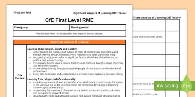 Religious and Moral Education Significant Aspects of Learning and Progression Framework CfE First Level Tracker-Scottish