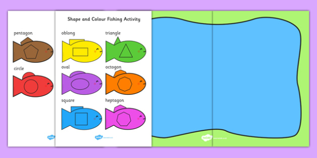 Shape and Colour Fishing Activity - colours, shapes, maths, games