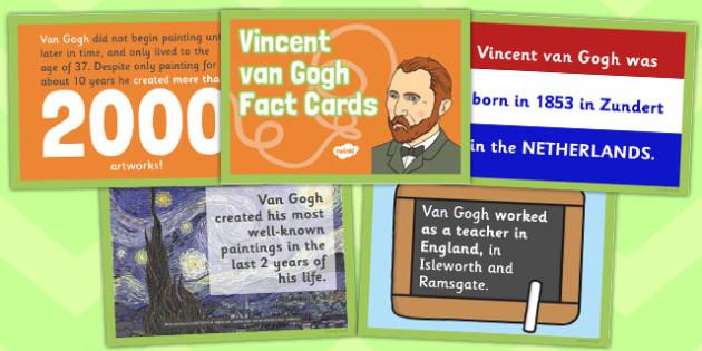 Vincent Van Gogh Fact Cards - vincent van gogh, fact cards, fact