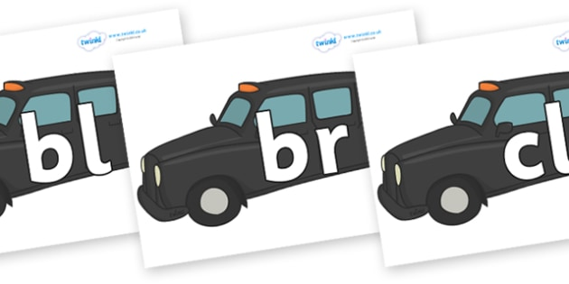 Initial Letter Blends on Taxis - Initial Letters, initial letter, letter blend, letter blends, consonant, consonants, digraph, trigraph, literacy, alphabet, letters, foundation stage literacy