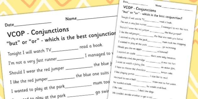 'But' and 'Or' Conjunctions Activity Sheet - Connectives, Conjunctions, But