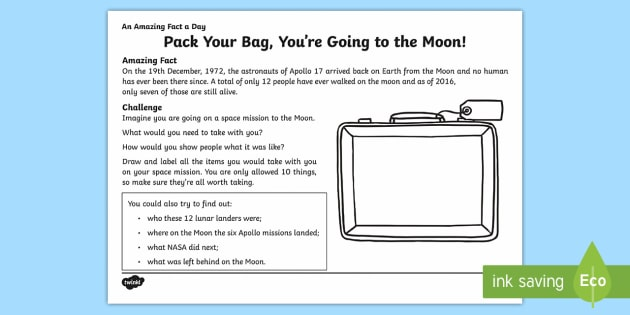 Pack Your Bag, You're Going to the Moon Activity Sheet - Amazing Fact Of The Day, activity sheets, powerpoint, starter, morning activity, December, the moon,