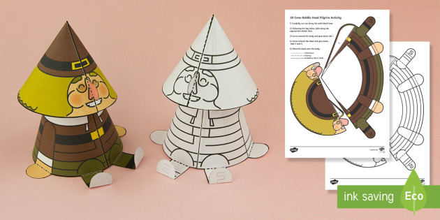 Simple 3D Cone Bobble Head Thanksgiving Pilgrim Activity Paper Craft