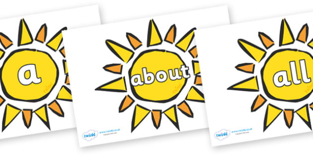 100 High Frequency Words on The Sun - High frequency words, hfw, DfES Letters and Sounds, Letters and Sounds, display words
