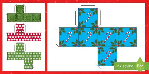Christmas Gift Boxes Cube Shape Net - christmas, christmas themed, gift boxes, christmas activities, christmas themed boxes, chirstmas gifts, boxes for gifts, gift box