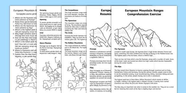 European Mountain Ranges Comprehension Activity English/Polish - European Mountain Ranges Reading Comprehension Activity - mountains, comprehesion, comprehnsion, com