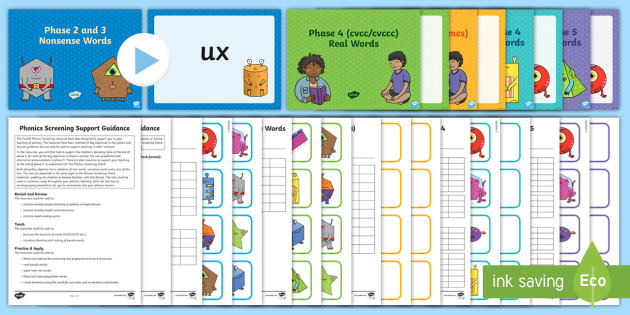Phonics Screening Check Resources Support Pack - Phonics, Screening Check, oxford phonics check, Year 1, letters and sounds, real words, nonsense, psuedo, phase two, phase
