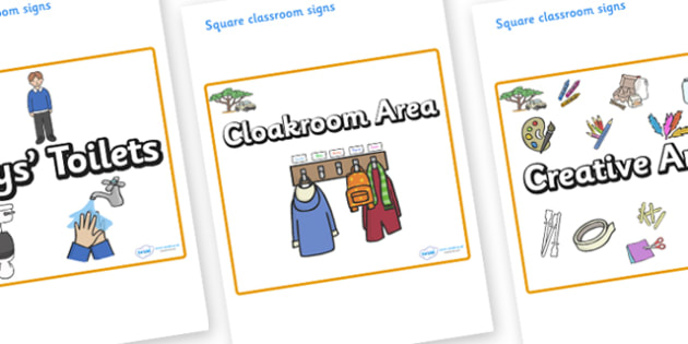 Safari Themed Editable Square Classroom Area Signs (Plain) - Themed Classroom Area Signs, KS1, Banner, Foundation Stage Area Signs, Classroom labels, Area labels, Area Signs, Classroom Areas, Poster, Display, Areas