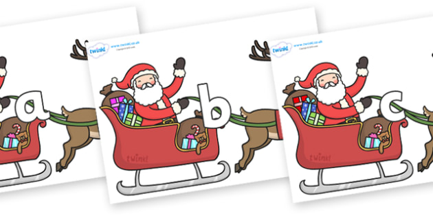 Phase 2 Phonemes on Santa on Sleigh - Phonemes, phoneme, Phase 2, Phase two, Foundation, Literacy, Letters and Sounds, DfES, display