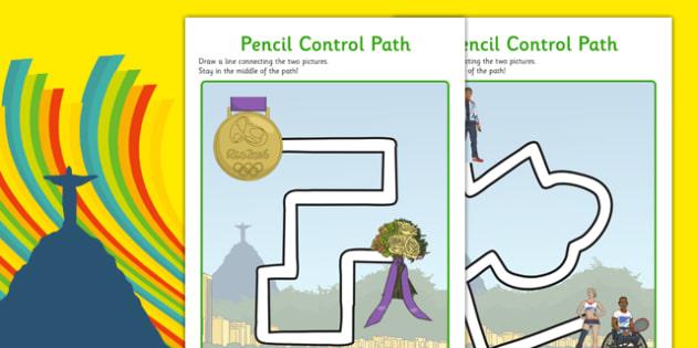 Rio Olympics 2016 Pencil Control Path Worksheets - rio 2016, rio olympics, rio olympics 2016, 2016 olympics, pencil control, path, worksheets