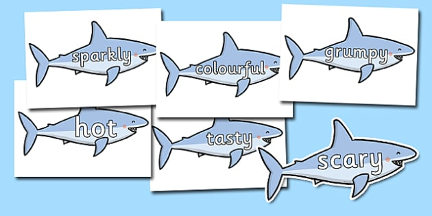 Wow Words on Sharks - Wow words, adjectives, VCOP, describing, Wow, display, poster, wow display, tasty, scary, ugly, beautiful, colourful sharp, bouncy
