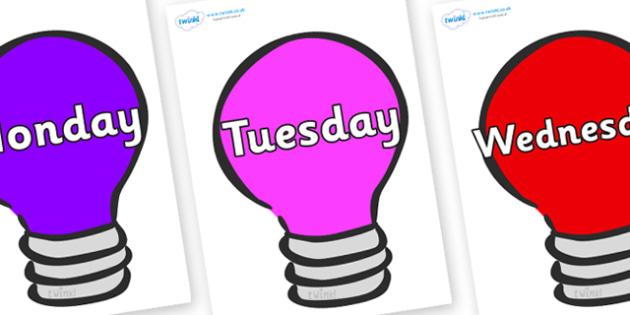 Days of the Week on Lightbulbs (Multicolour) - Days of the Week, Weeks poster, week, display, poster, frieze, Days, Day, Monday, Tuesday, Wednesday, Thursday, Friday, Saturday, Sunday