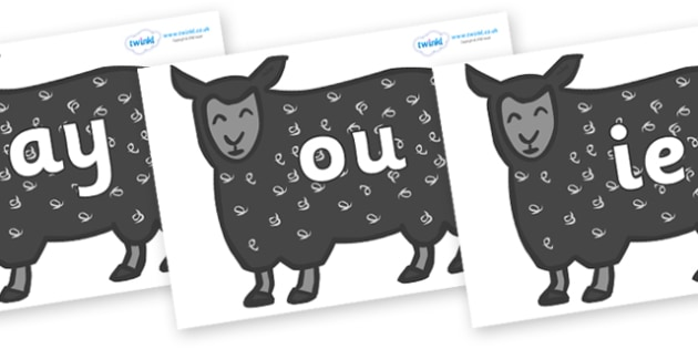 Phase 5 Phonemes on Black Sheep to Support Teaching on Brown Bear, Brown Bear - Phonemes, phoneme, Phase 5, Phase five, Foundation, Literacy, Letters and Sounds, DfES, display