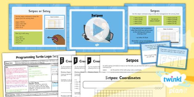 PlanIt - Computing Year 4 - Programming Turtle Logo Lesson 2: Setpos Lesson Pack