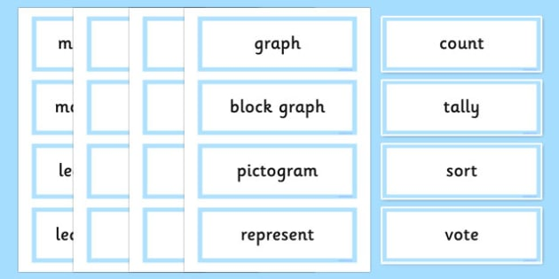 Year 2 Maths Vocabulary Word Cards Organising and Using Data - maths word cards, year 2 maths word cards, data word cards, handling data, maths words