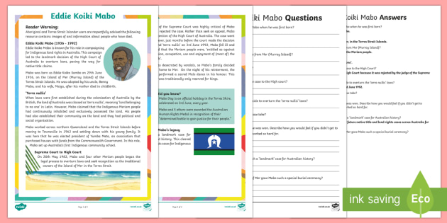 Influential Aboriginal and Torres Strait Islander People -- Eddie Mabo Differentiated Reading Comprehension Activity-Australia - Famous Indigenous Australians, Eddie Mabo, Mabo, MABO, Eddie Koiko Mabo, Indigenous, land rights, In