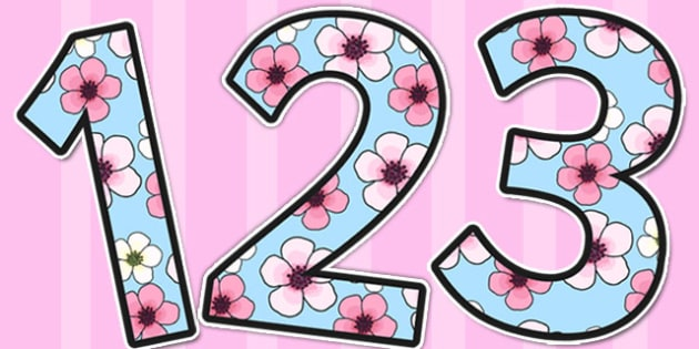 Pink Blossom Themed A4 Display Numbers - numbers, displays, flower