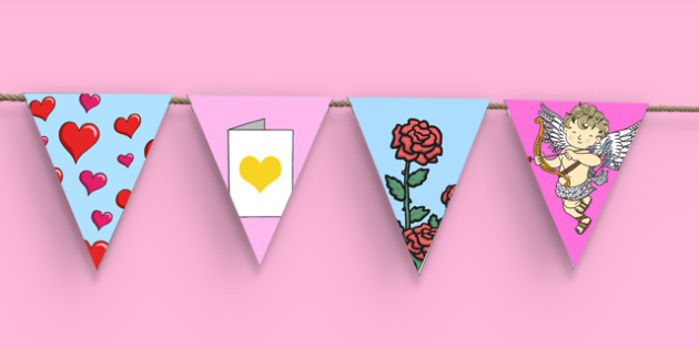 Valentine's Day Bunting - bunting, decorations, display, display bunting, valentines, valentines day, valentines bunting, heart bunting, love bunting, classroom decorations, for decorating your classroom