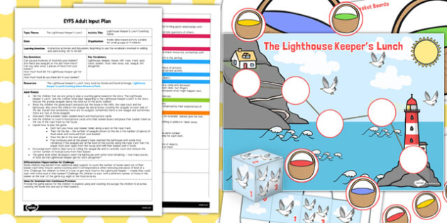 Counting Game EYFS Adult Input Plan and Resource Pack to Support Teaching on The Lighthouse Keeper's Lunch