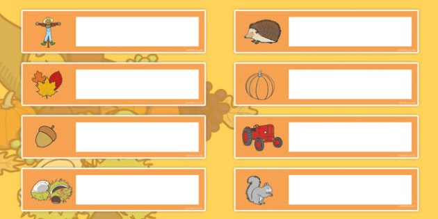 Autumn Themed Gratnells Tray Labels - tray labels, signs, seasons