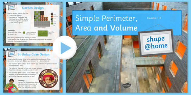 Shape at Home Simple Perimeter Area and Volume (GCSE grades 1 3) PowerPoint