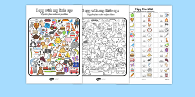 I Spy With My Little Eye Activity Polish Translation - polish, I spy with my little eye, I spy, activities, games, class games, class activities, I spy worksheet, I spy game sheet