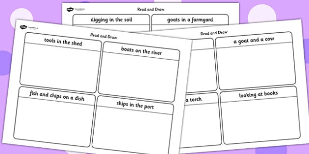 Phase 3 Caption Card Read and Draw Worksheets - phase three, read