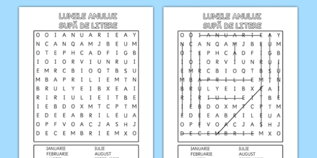 Months of the Year Word Search Romanian - romanian, months, year, word search, word, search