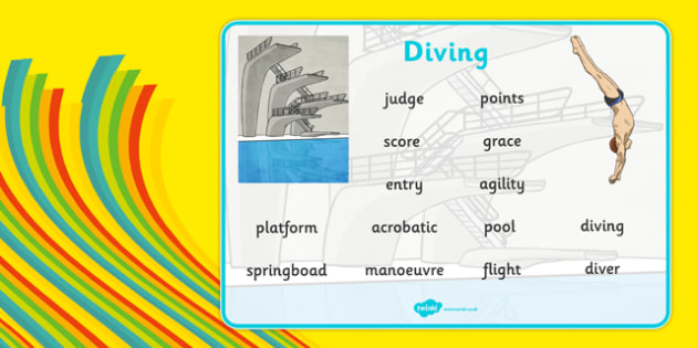 The Olympics Diving Word Mat - Rio Olympics, numerals, display, dive, writing, literacy