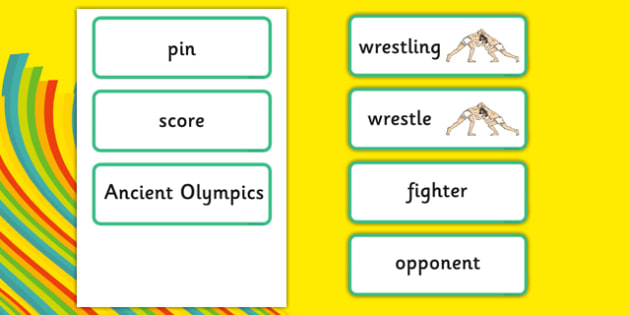 Rio 2016 Olympics Greco Roman Wrestling Word Cards - rio 2016, 2016 olympics, rio olympics, greco, roman, wrestling, word cards