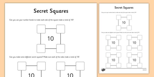 Secret Squares Activity Sheet, worksheet