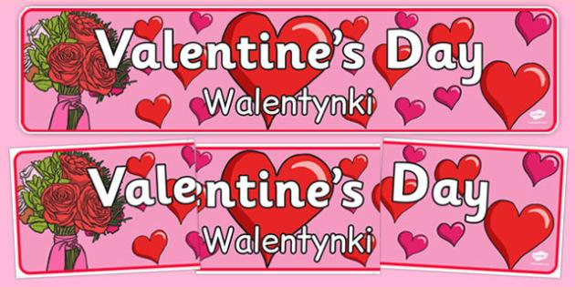 Valentine's Day Display Banner Polish Translation - polish, Valentine's Day, Valentine, love, Saint Valentine, heart, kiss, display, banner, sign, poster, cupid, gift, roses, card, flowers, date, letter, girlfriend, boyfriend, partner
