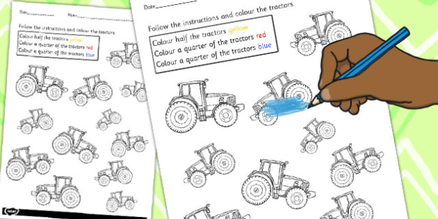 Fractions Colouring Sheet Tractors - tractor, maths, colours