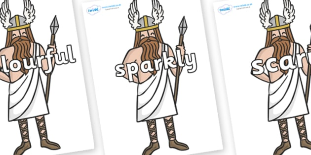Wow Words on Viking Gods - Wow words, adjectives, VCOP, describing, Wow, display, poster, wow display, tasty, scary, ugly, beautiful, colourful sharp, bouncy