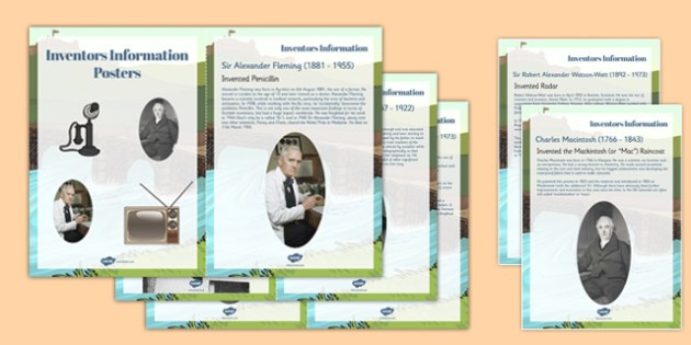 Scottish Inventors Information Display Cards - scottish, inventors, information, display, posters
