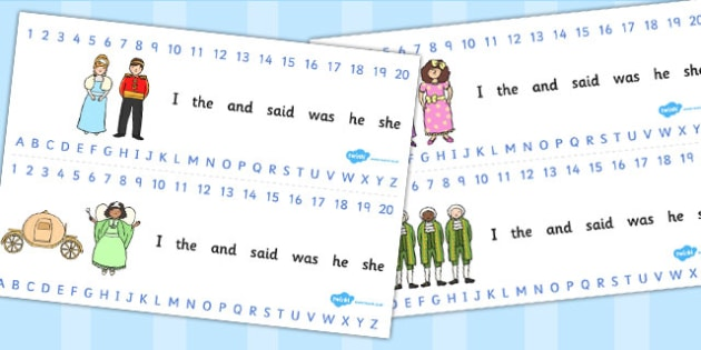 Cinderella Combined Number and Alphabet Strips - cinderella