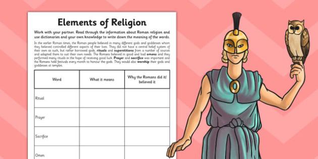The Romans Elements of Religion Activity Sheet - romans, activity, worksheet