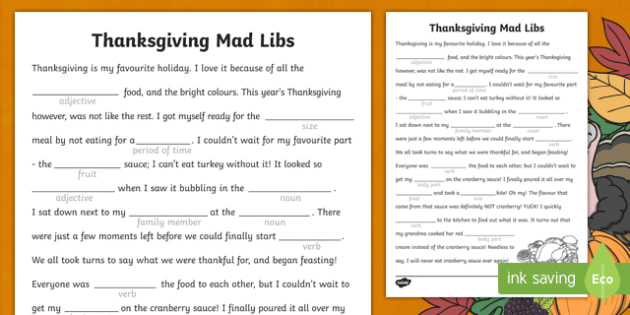 Thanksgiving Mad Libs Activity Sheet