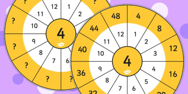 4 Times Table Wheel Cut Outs - visual aid, maths, numeracy