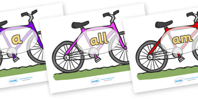 Foundation Stage 2 Keywords on Bicycles - FS2, CLL, keywords, Communication language and literacy,  Display, Key words, high frequency words, foundation stage literacy, DfES Letters and Sounds, Letters and Sounds, spelling