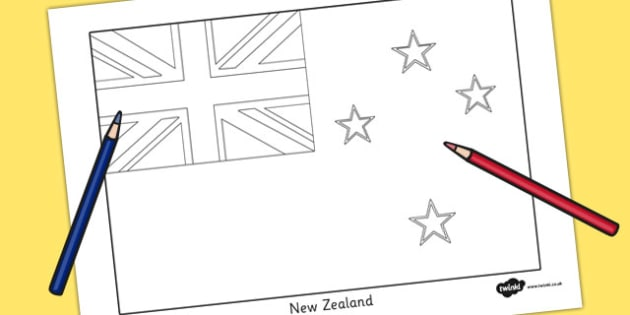 New Zealand Flag Colouring Sheet - countries, country, geography
