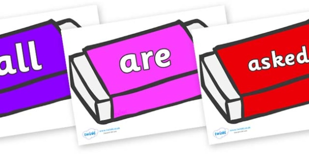 Tricky Words on Erasers - Tricky words, DfES Letters and Sounds, Letters and sounds, display, words